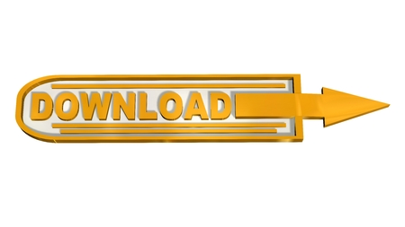 globally: 3D download button with arrow isolated on white background