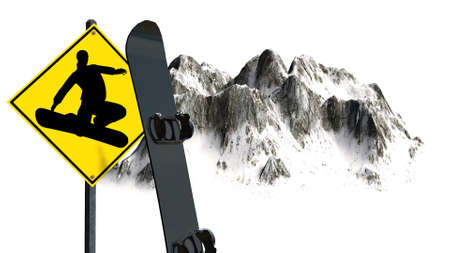 freestyle: Snowboard Freestyle sign in front of Snowy Mountains - Mountain Peaks - isolated on white background