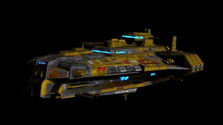 raumschiff: Science-Fiction-Raumschiff auf einem schwarzen Hintergrund
