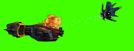 attacked: futuristic spaceship is attacked by alien battleship on greenscreen