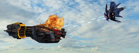 battleship: futuristic spaceship is attacked by alien battleship in the atmosphere