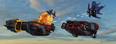 raumschiff: futuristisches Raumschiff wird von außerirdischen Kriegsschiff in der Atmosphäre angegriffen