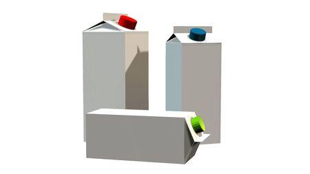 caja de leche: 3D cartón de la leche Paquetes blanca en blanco - aislado en fondo blanco