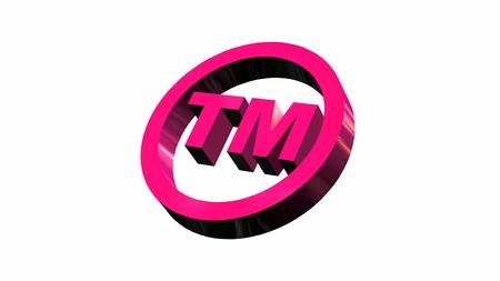 tm: TM - round Trademark sign on white background