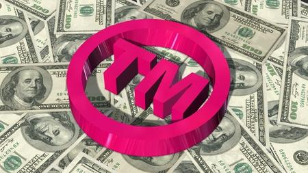 TM - round Trademark sign on 100 bills