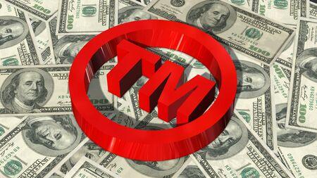 tm: TM - round Trademark sign on 100 bills