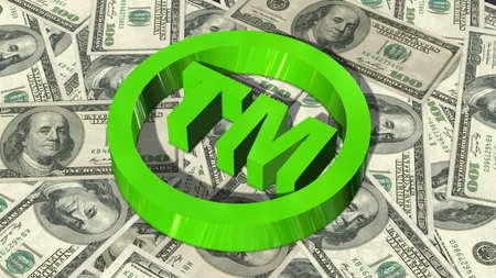 tm: TM - round Trademark sign on 100 bills