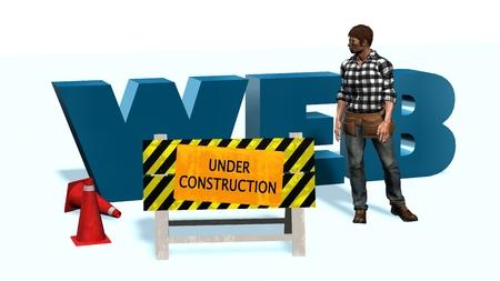 computer repairing: 3d illustration of website under construction concept