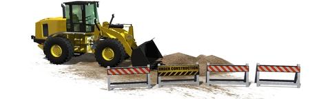 roadblock: bulldozer behind Under Construction roadblock isolated on white background