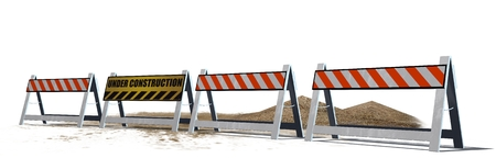 roadblock: Under Construction roadblock isolated on white background