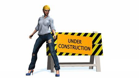 mujer trabajadora: En construcci�n - barrera detr�s de la mujer trabajadora