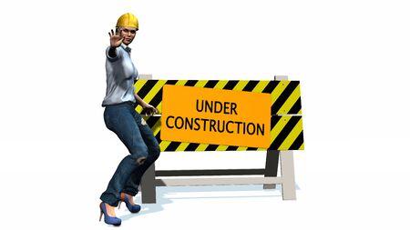 construction barrier: Under construction - barrier behind worker woman