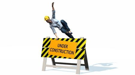 caution sign: Under construction - barrier behind worker woman