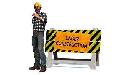 construction barrier: Under Construction - Barrier and construction worker with yellow helmet Stock Photo