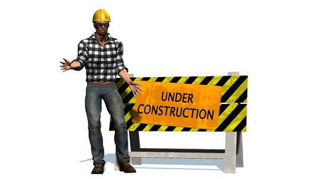 yellow helmet: Under Construction - Barrier and construction worker with yellow helmet Stock Photo
