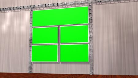 video wall: Virtual Studio Video wall with isolated green screen monitor