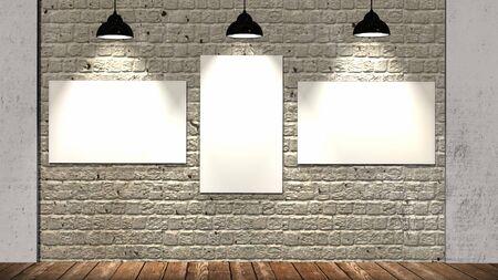 Three blank frames on brick wall and wooden floor illuminated with spotlights