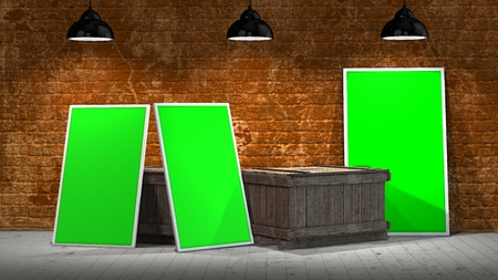 green backgrounds: Interior room stonewall with three green frames and wooden crates illuminated with spotlights