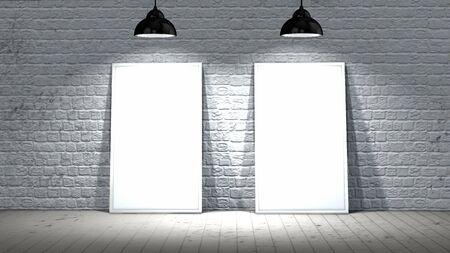 ladrillo: Dos marcos de pantalla en blanco en la pared de ladrillo y piso de madera iluminados con focos Foto de archivo