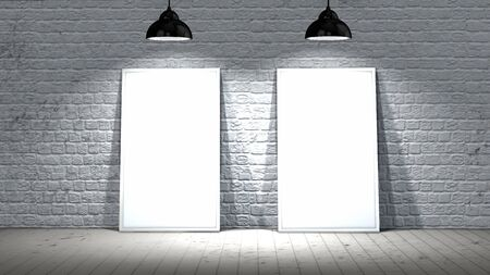 brick: Two blank screen frames on old brick wall and wooden floor illuminated with spotlights Stock Photo
