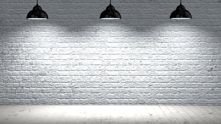 Brickwall beleuchtet mit Spotlichter und Holzboden Standard-Bild - 47667996