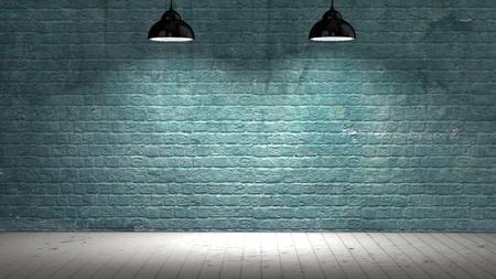 スポット ライトと木製の床で照らされたブリックウォール