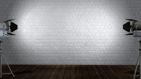 Old interior room with brick wall and wooden floor illuminated with spotlights movie