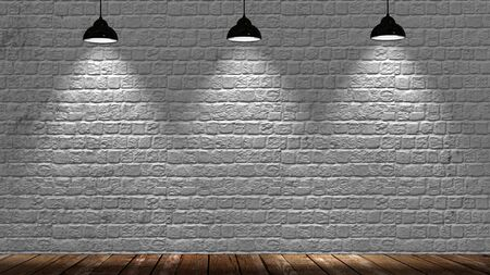 dark backgrounds: brickwall with spot lights and wood floor