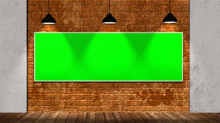 big green screen frame on brick wall and wooden floor illuminated with spotlights