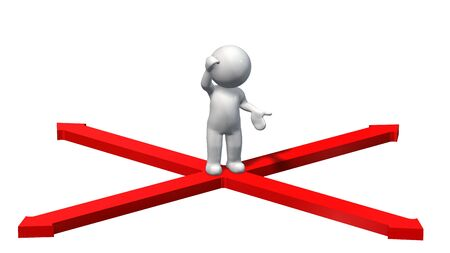 choose a path: Decision - Red Arrows with 3D People Stock Photo