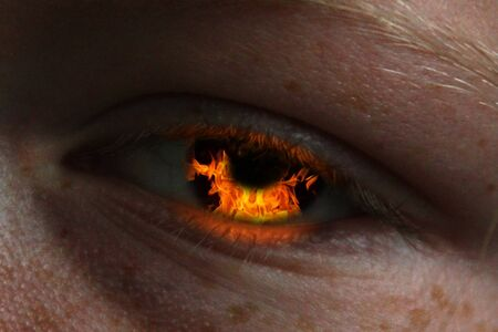 fleming: girls eye with burning fire in it