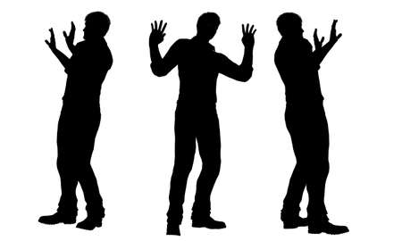 one person: silhouettes of men