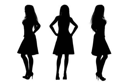 siluetas de mujeres: mujeres en siluetas vestido Foto de archivo
