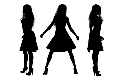 woman pose: women in dress silhouettes Stock Photo