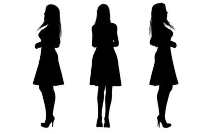 siluetas de mujeres: vestir a mujeres siluetas Foto de archivo