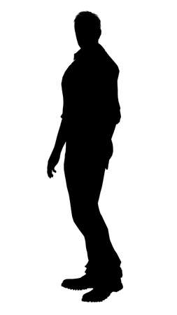 shadow man: silhouette of a man Stock Photo