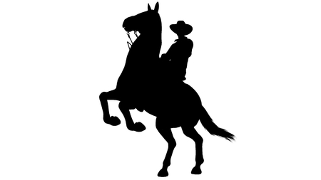rearing: Cowboy on Horse silhouette on white background Stock Photo