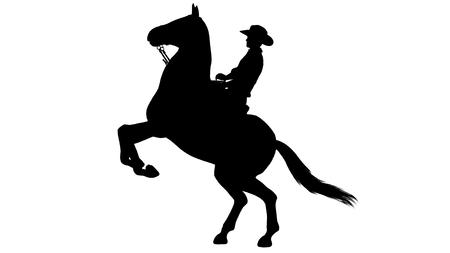 白い背景の上の馬のシルエットのカウボーイ 写真素材