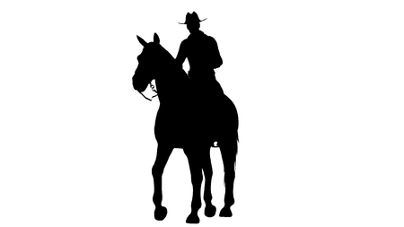Cowboy on Horse silhouette on white background Stock Photo