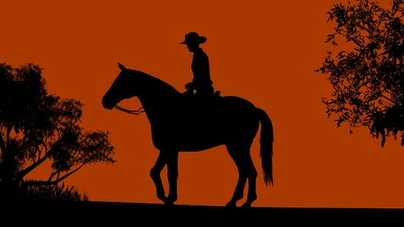 yellow adventure: Cowboy silhouette