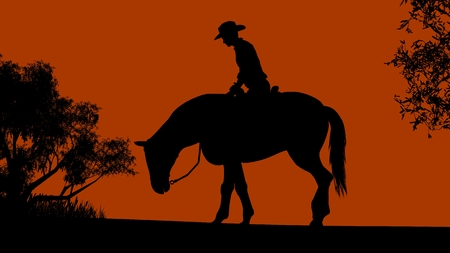 dramatic clouds: Cowboy silhouette