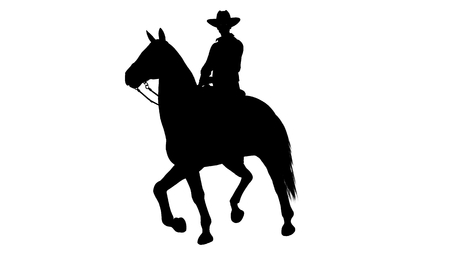 horse silhouette: Cowboy on Horse silhouette on white background Stock Photo