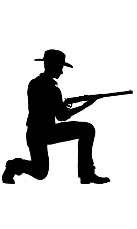yellow adventure: Cowboy with rifle silhouette
