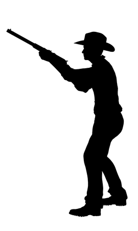 black cowgirl: Cowboy with rifle silhouette
