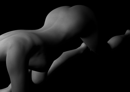 sexy nude woman black and white Art Picture Stock Photo