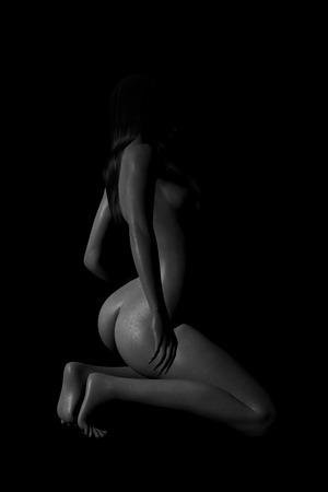 nude young: сексуальная обнаженная женщина черно-белый Арт Фото со стока