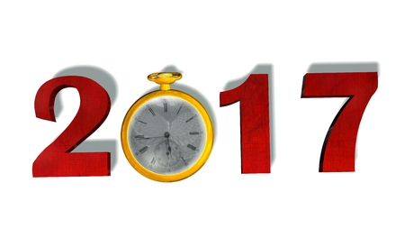 12 month old: 2017 New Year with pocket watch - isolated on white Stock Photo