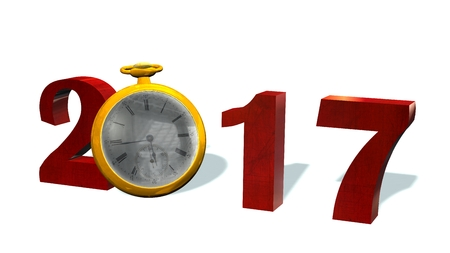 midnight hour: 2017 New Year with pocket watch - isolated on white Stock Photo