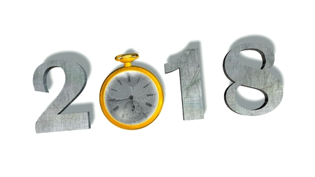 twelve month old: 2018 New Year with pocket watch - isolated on white