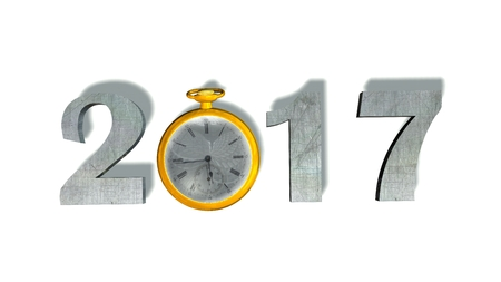 twelve month old: 2017 New Year with pocket watch - isolated on white Stock Photo